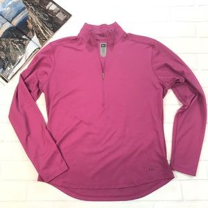 REI pink long sleeve half zip sweater top shirt